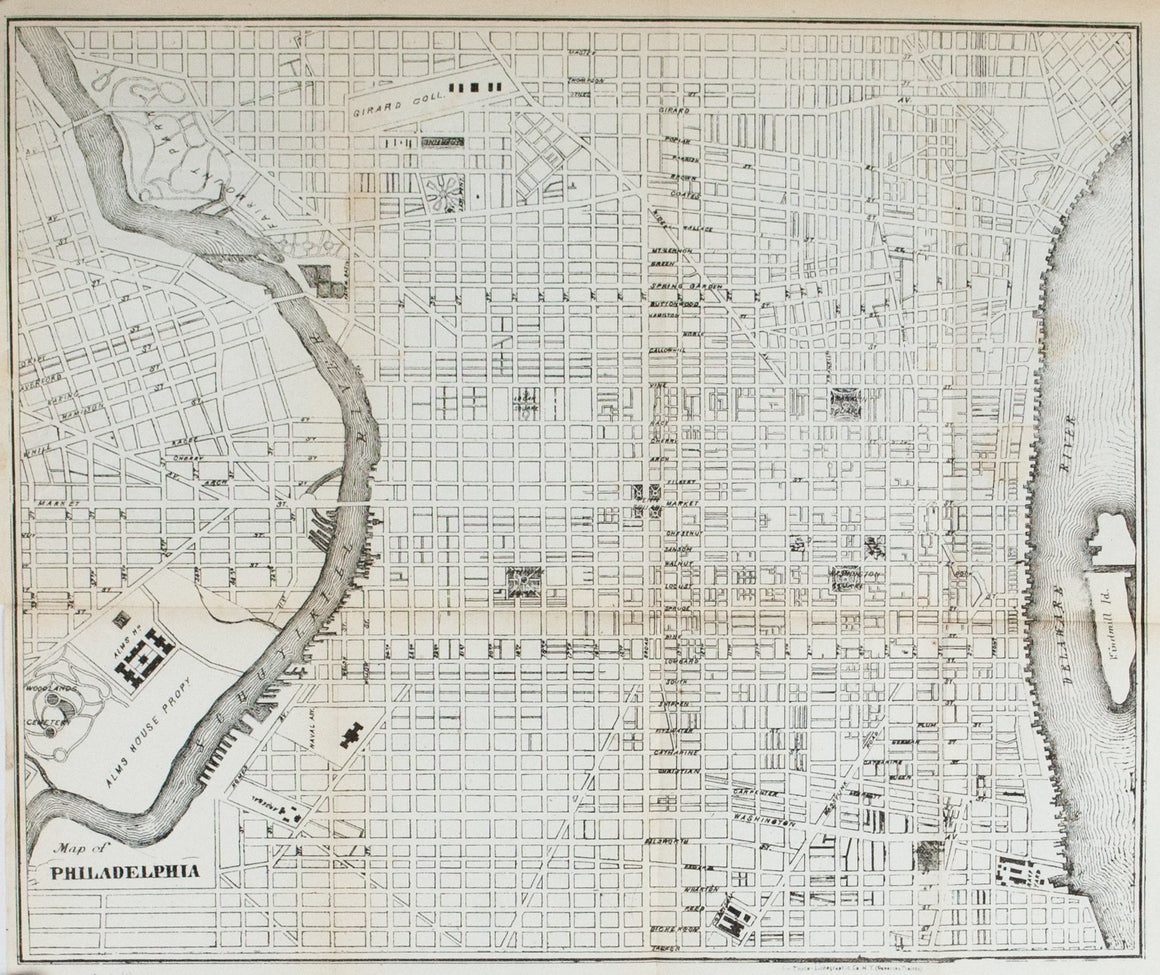 1867 Map of Philadelphia - Edward Hall