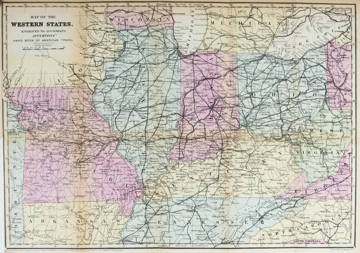1867 Map of the Western States - Edward Hall
