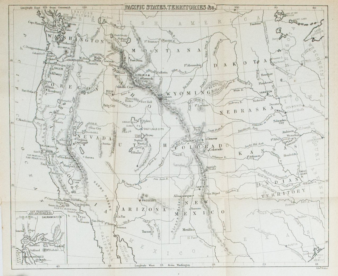 1867 Pacific States, Territories, &c - Edward Hall