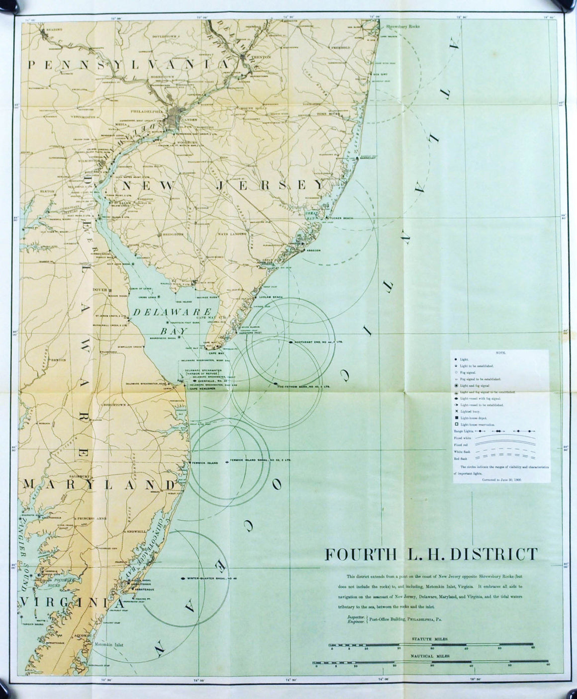 Lighthouse Maryland New Jersey Delaware Bay Antique Map 1900