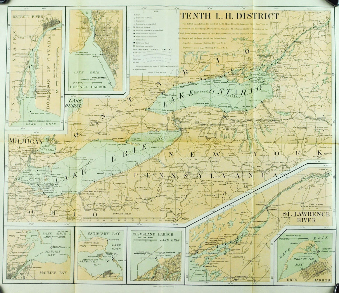 Lighthouse Lake Erie & Ontario Pennsylvania New York Antique Map 1900