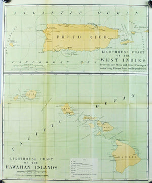 Lighthouse Hawaii West Indies Porto Rico Antique Map 1900