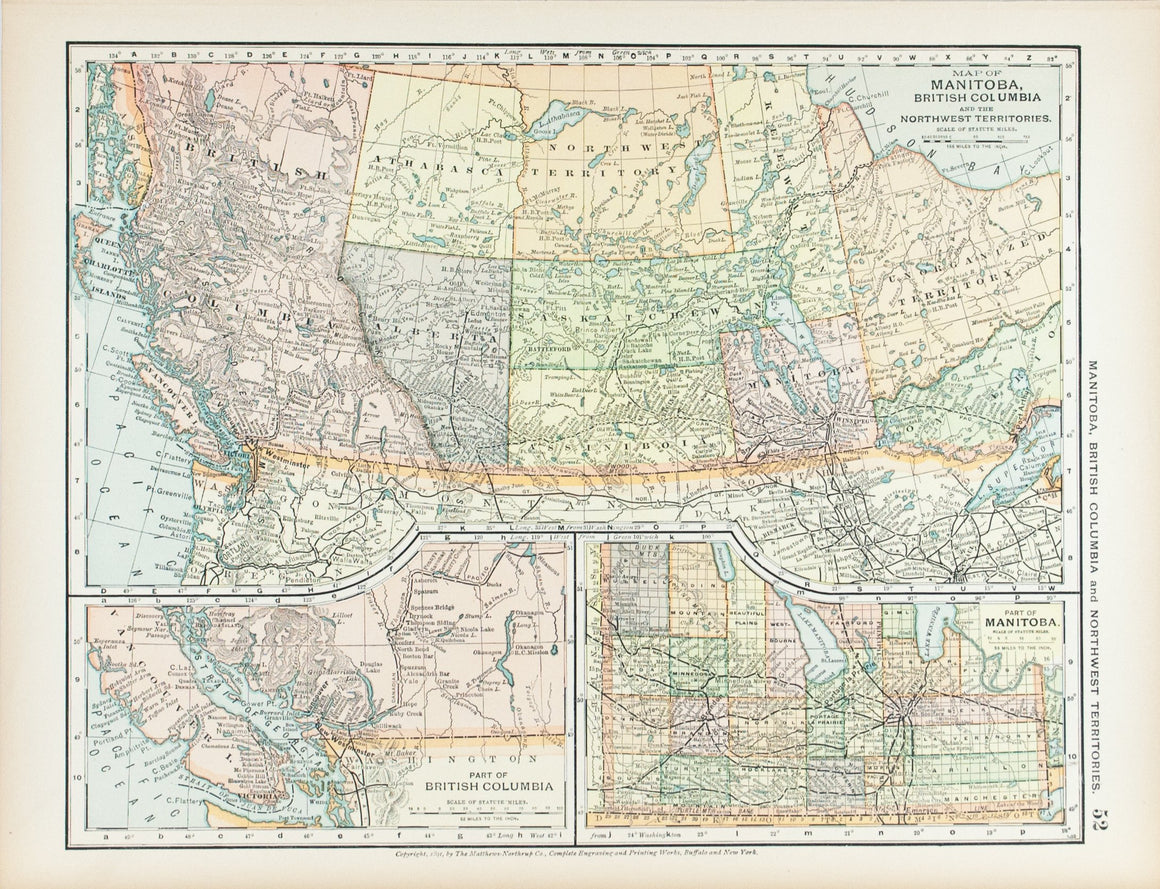 1891 Map of Manitoba, British Columbia and the Northwest Territories