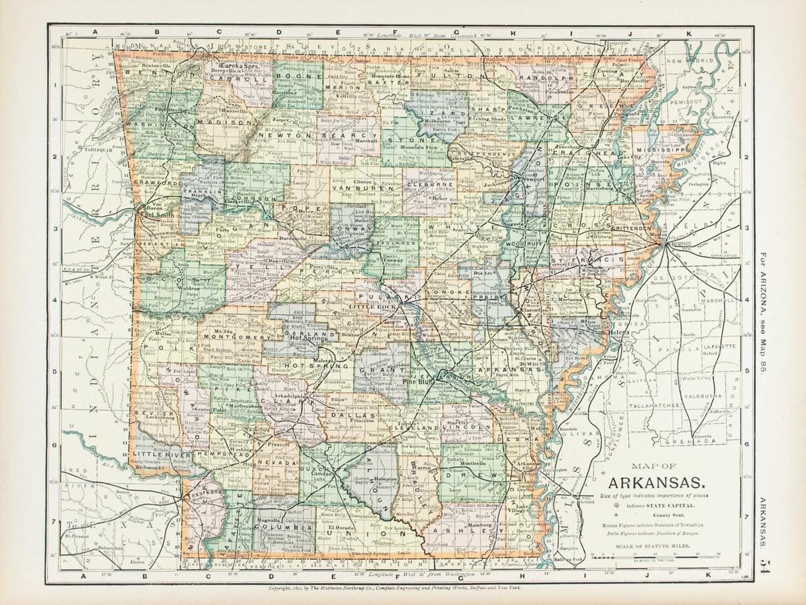 1891 Map of Arkansas