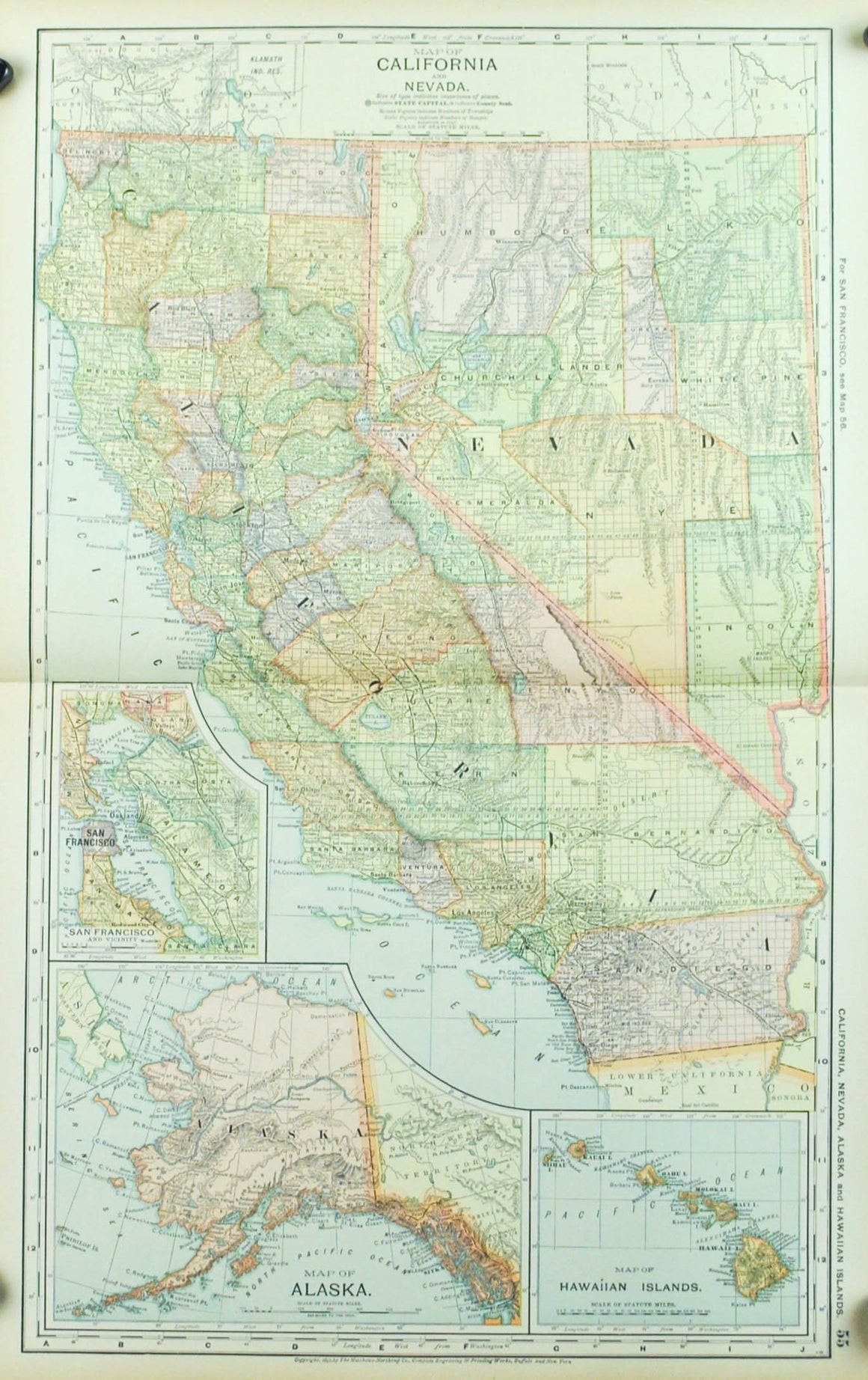 1891 Map of Calfornia and Nevada