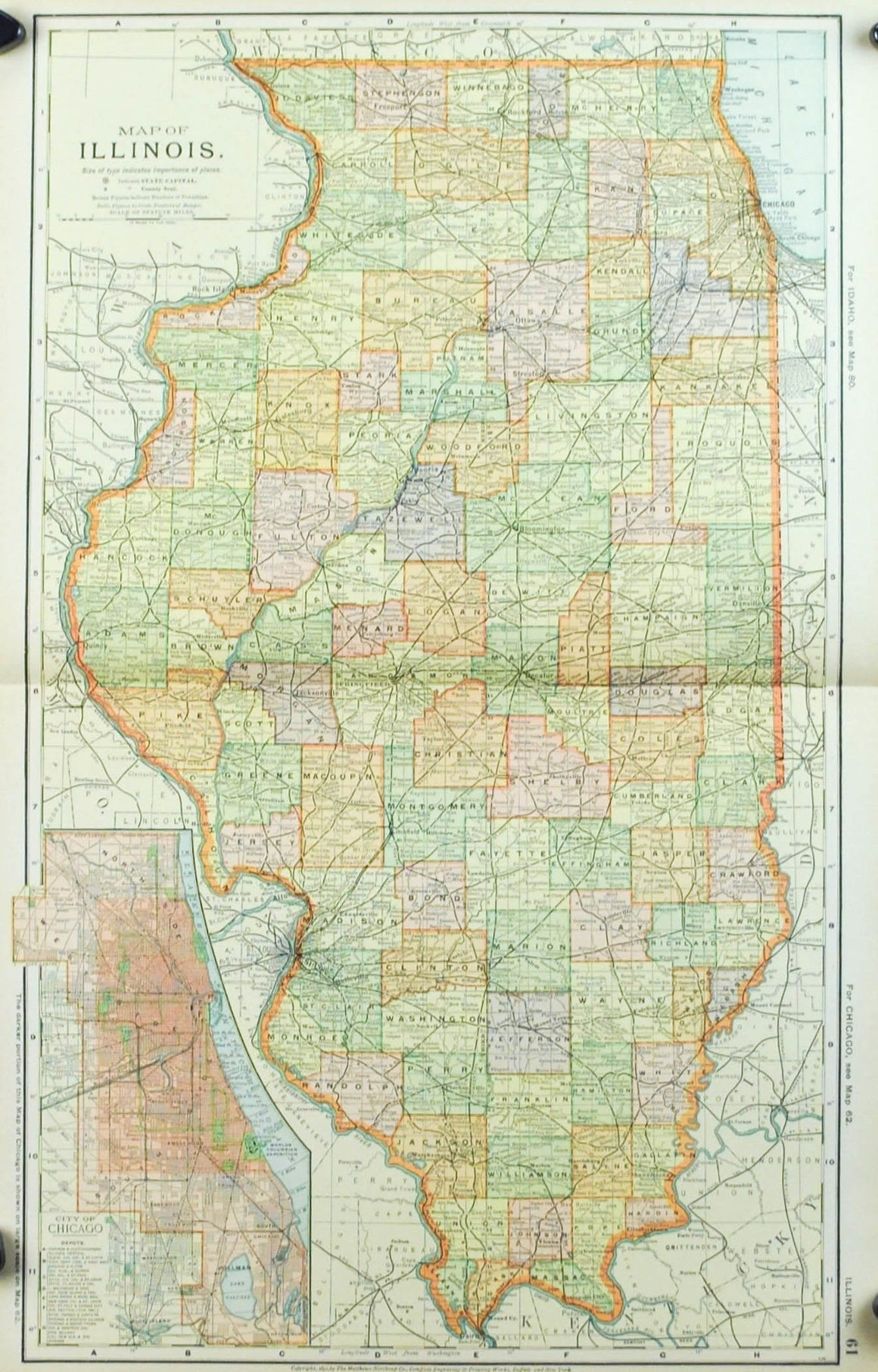 1891 Map of Illinois