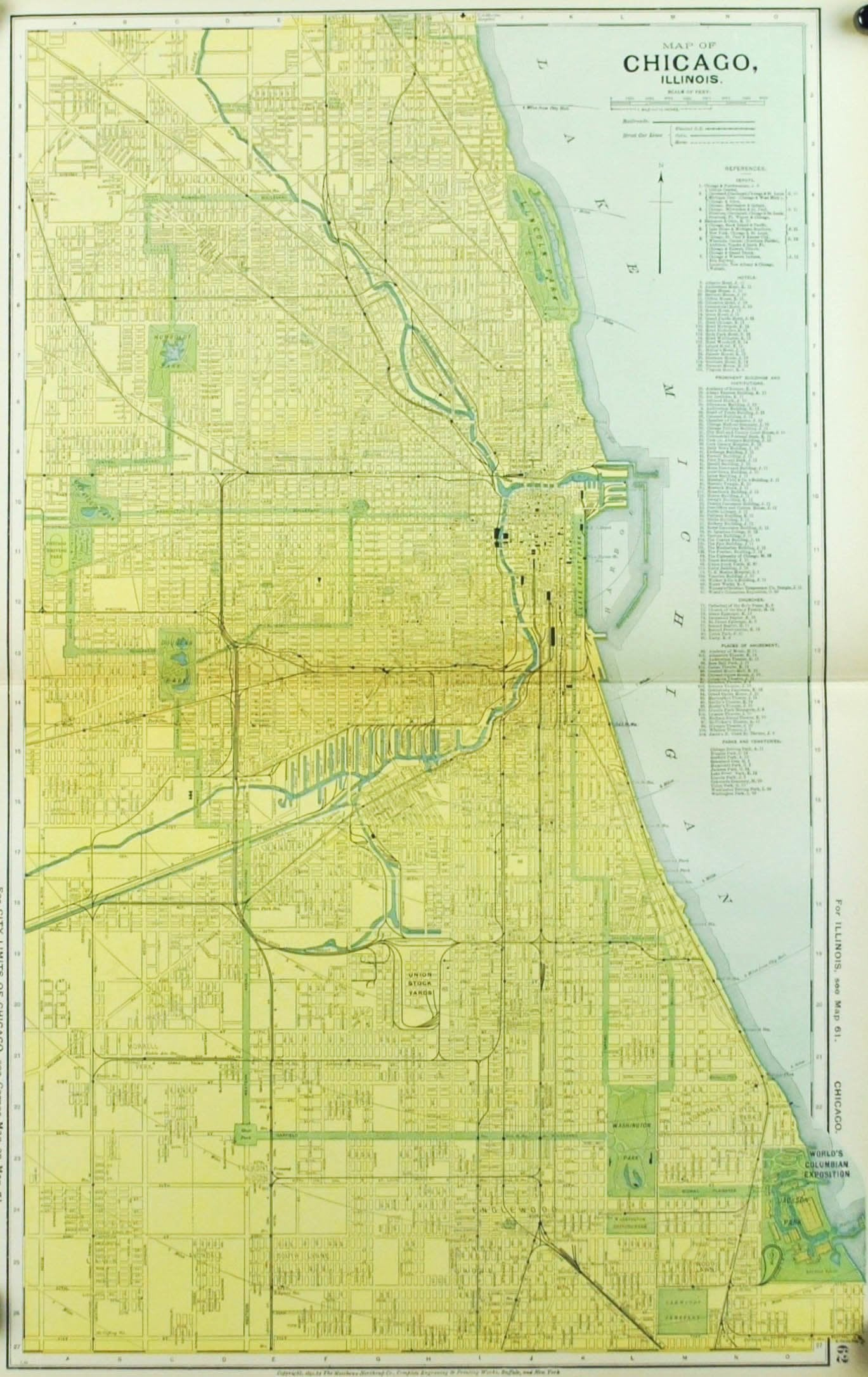 1891 Map of Chicago Illinois - Historic Accents S In Illinois Map on