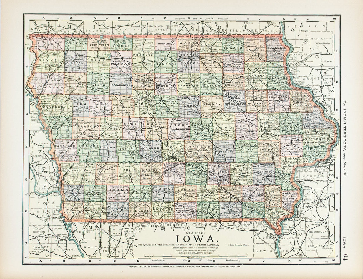 1891 Map of Iowa