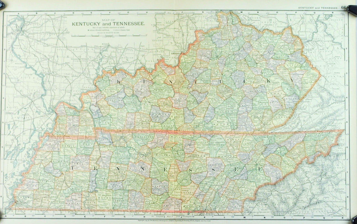 1891 Map of Kentucky and Tennessee