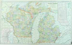 1891 Map of Michigan and Wisconsin