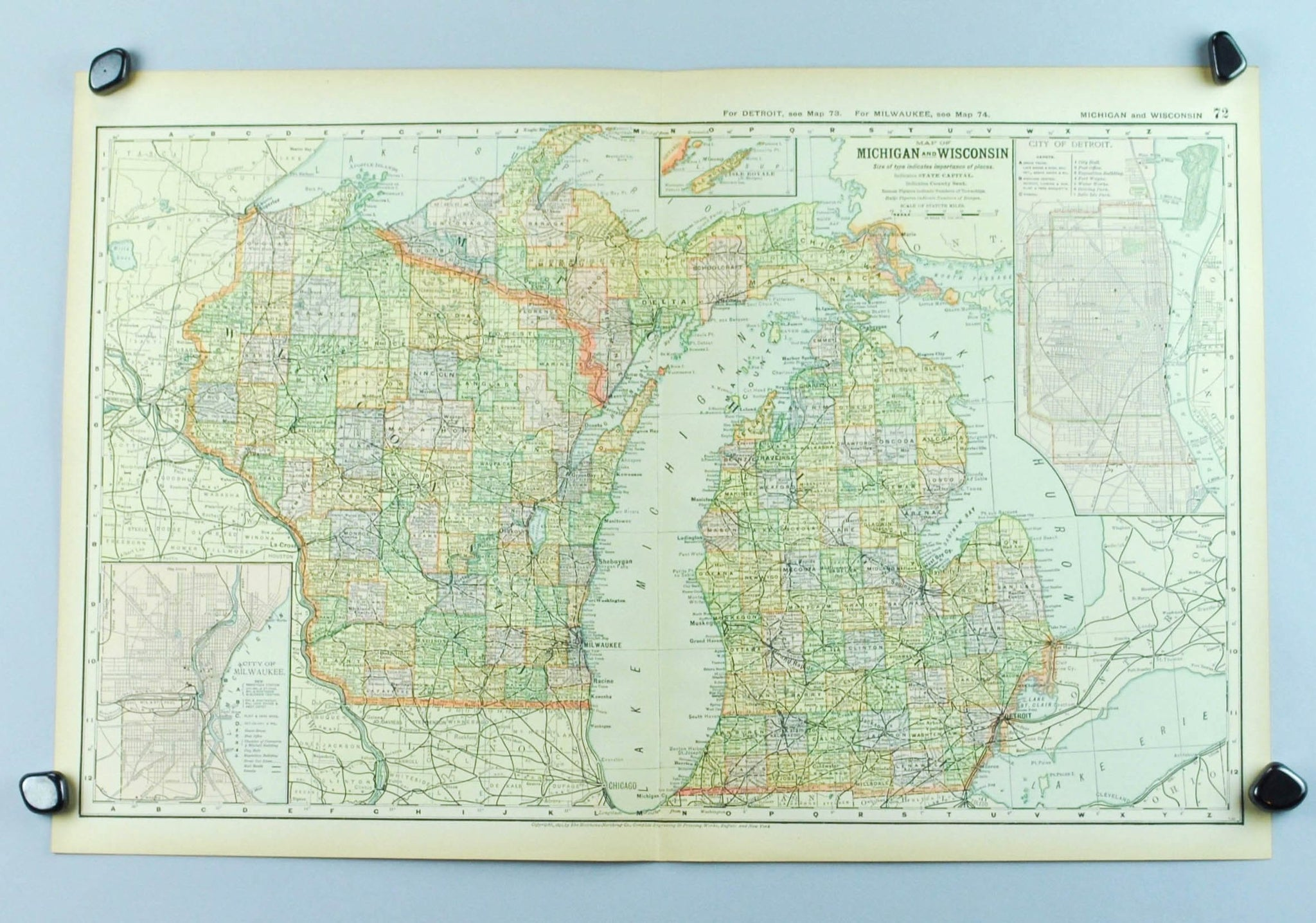 Michigan And Wisconsin Map.1891 Map Of Michigan And Wisconsin Historic Accents