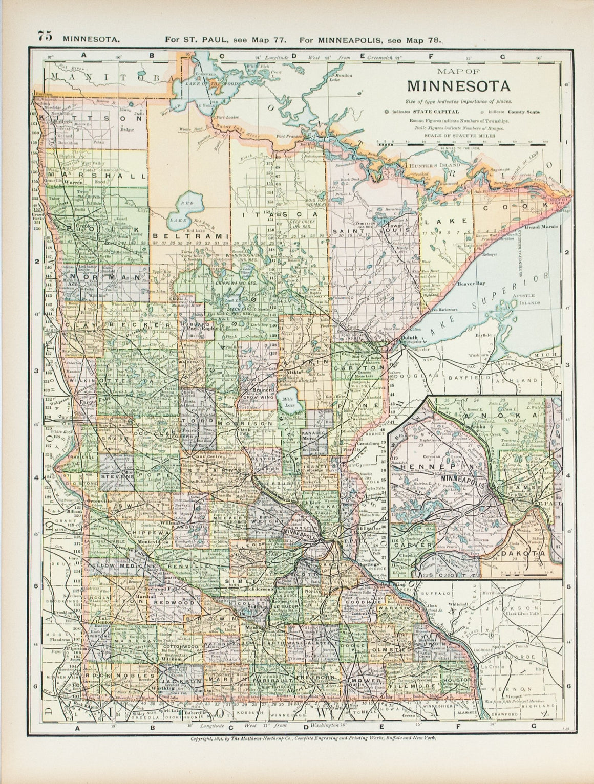 1891 Map of Minnesota