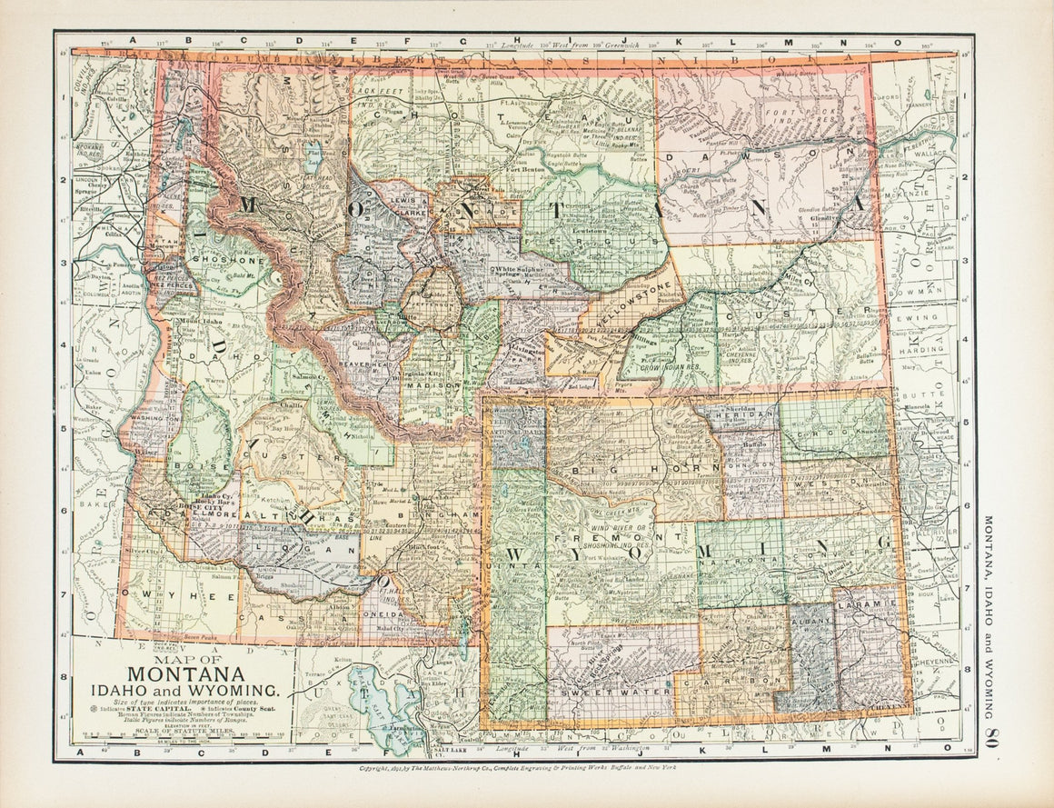 1891 Map of Montana Idaho and Wyoming