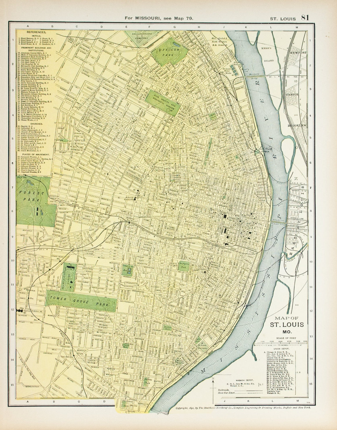 1891 Map of St Louis Missouri