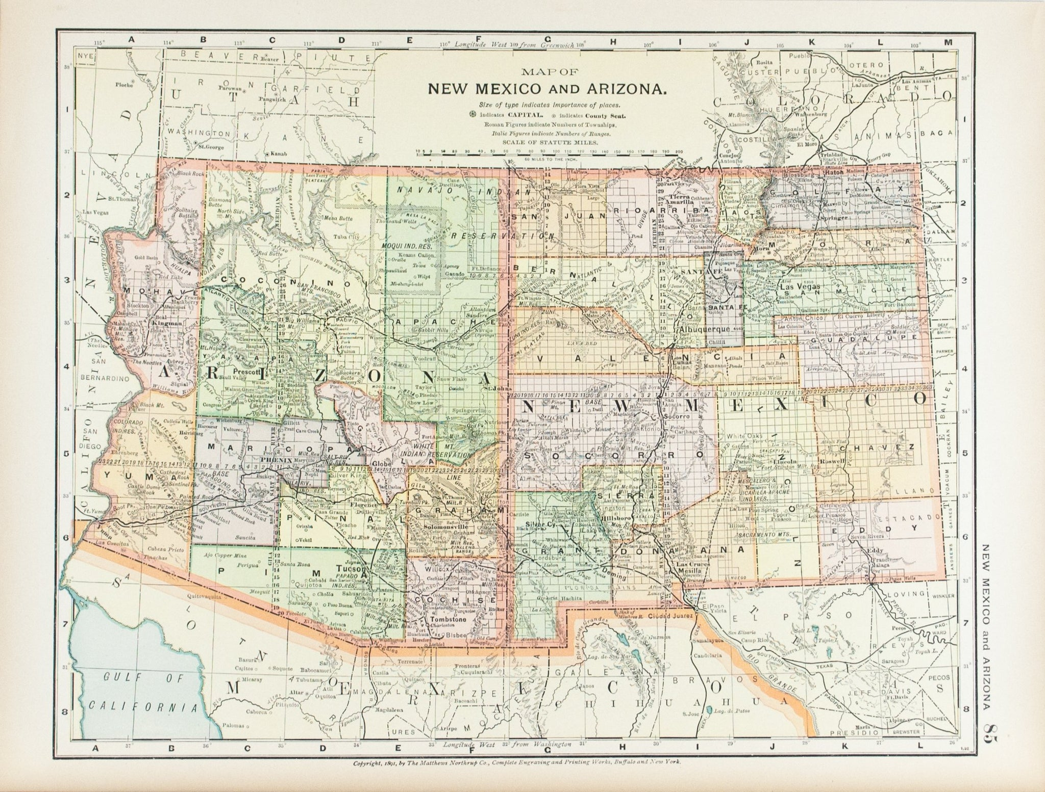 1891 Map of New Mexico and Arizona