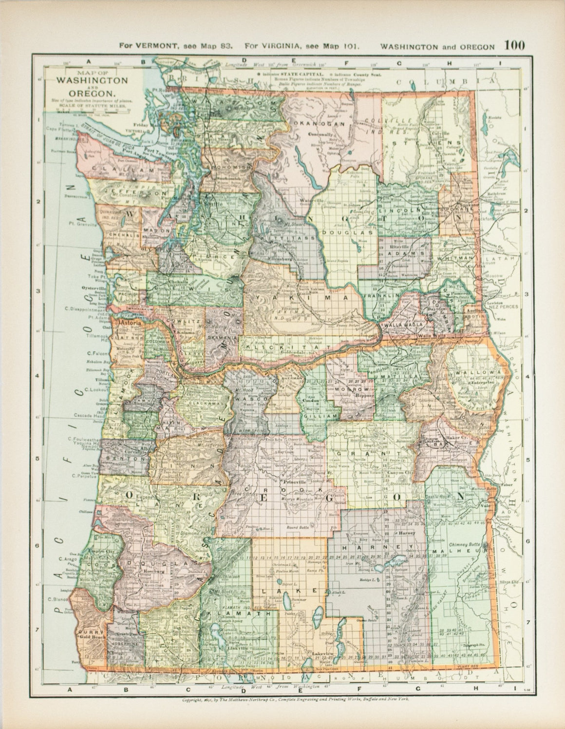 1891 Map of Washington and Oregon
