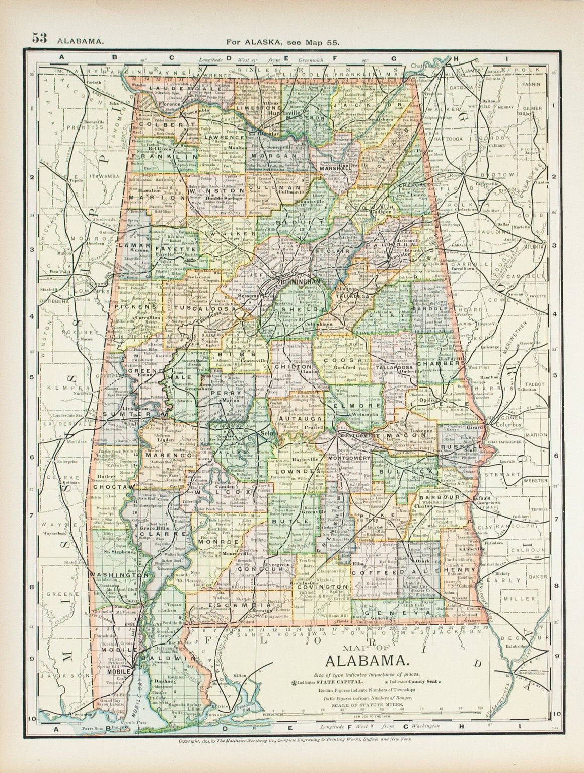 1891 Map of Alabama