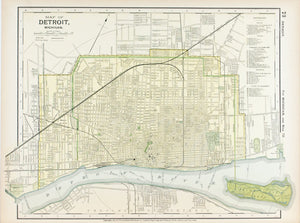 1891 Map of Detroit Michigan