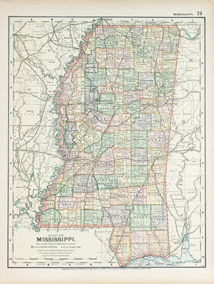 1891 Map of Mississippi