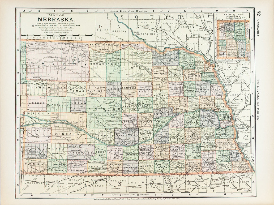 1891 Map of Nebraska
