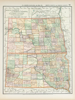 1891 Map of North Dakota and South Dakota