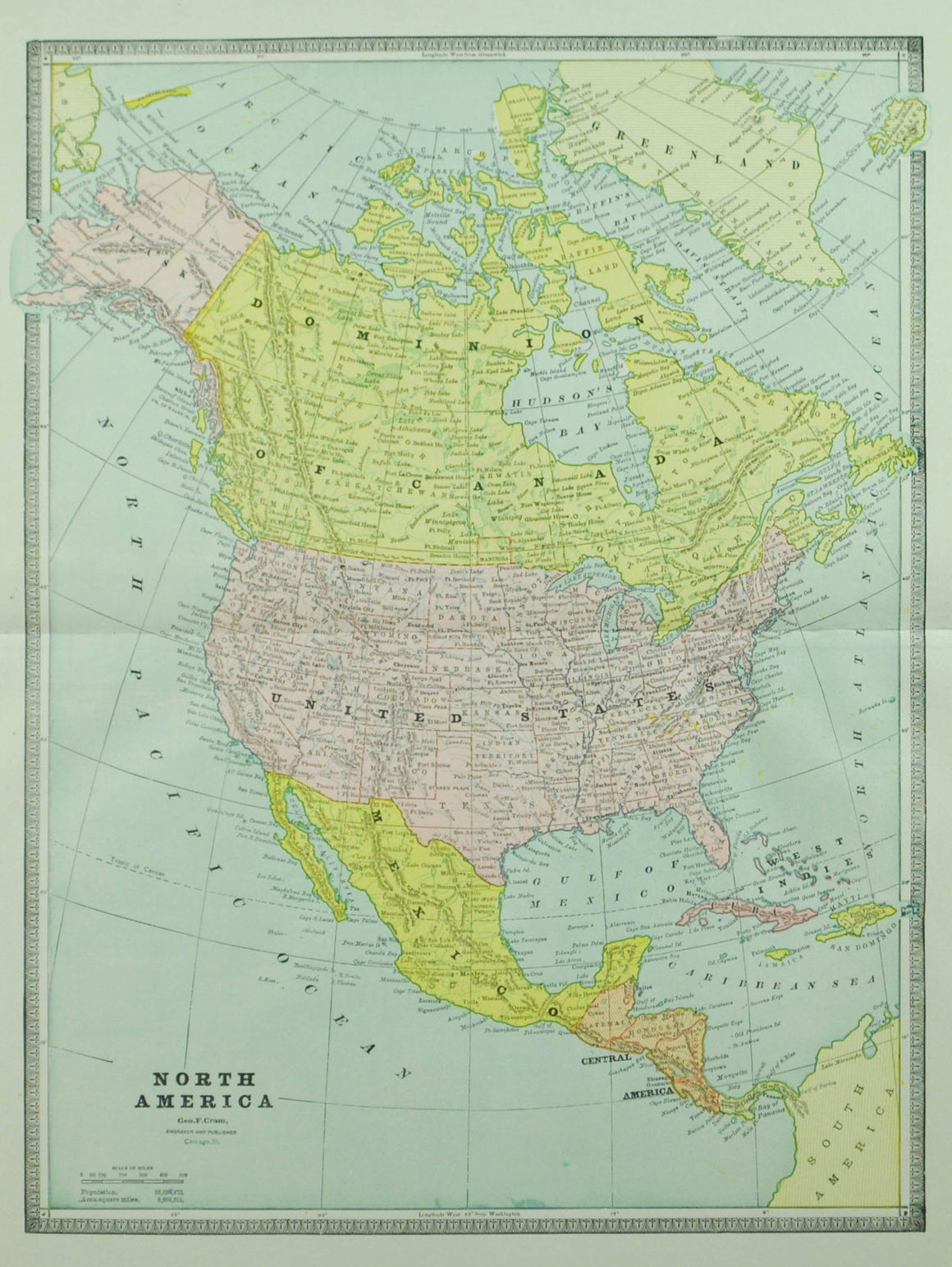 1884 North America - Cram