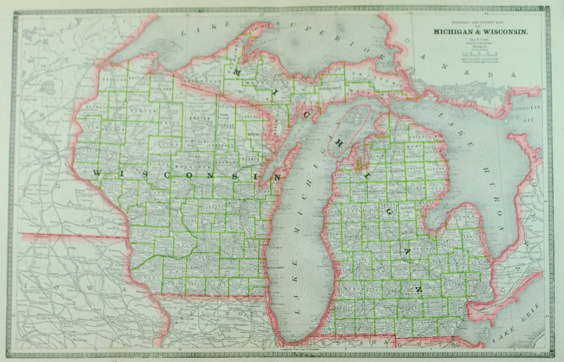 1884 Railroad & County Map of Michigan & Wisconsin - Cram