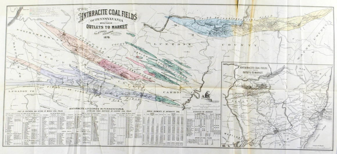Anthracite Coalfields of Pennsylvania Antique Map 1878