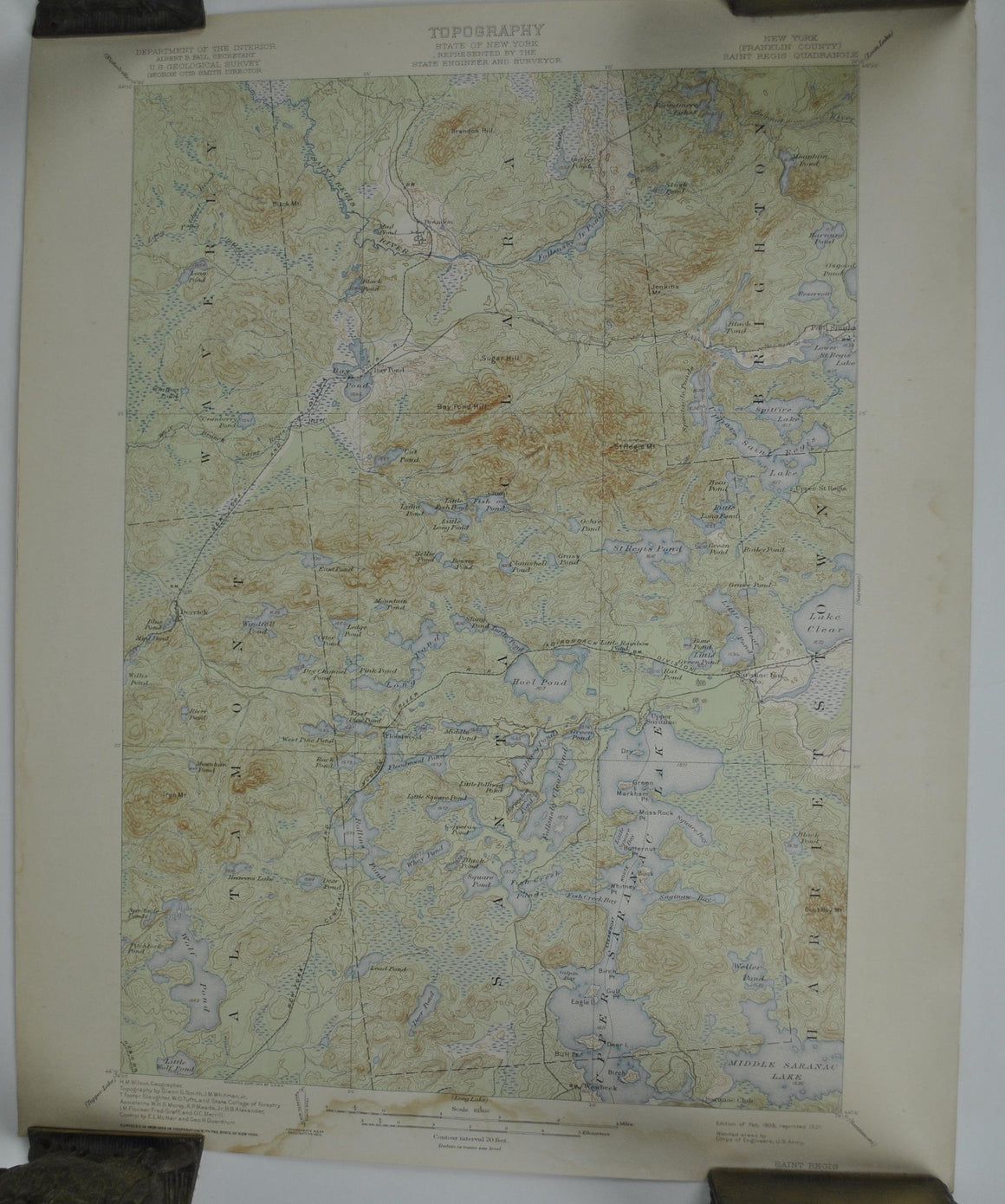 Franklin County Saint Regis New York Antique Topographic Map 1921