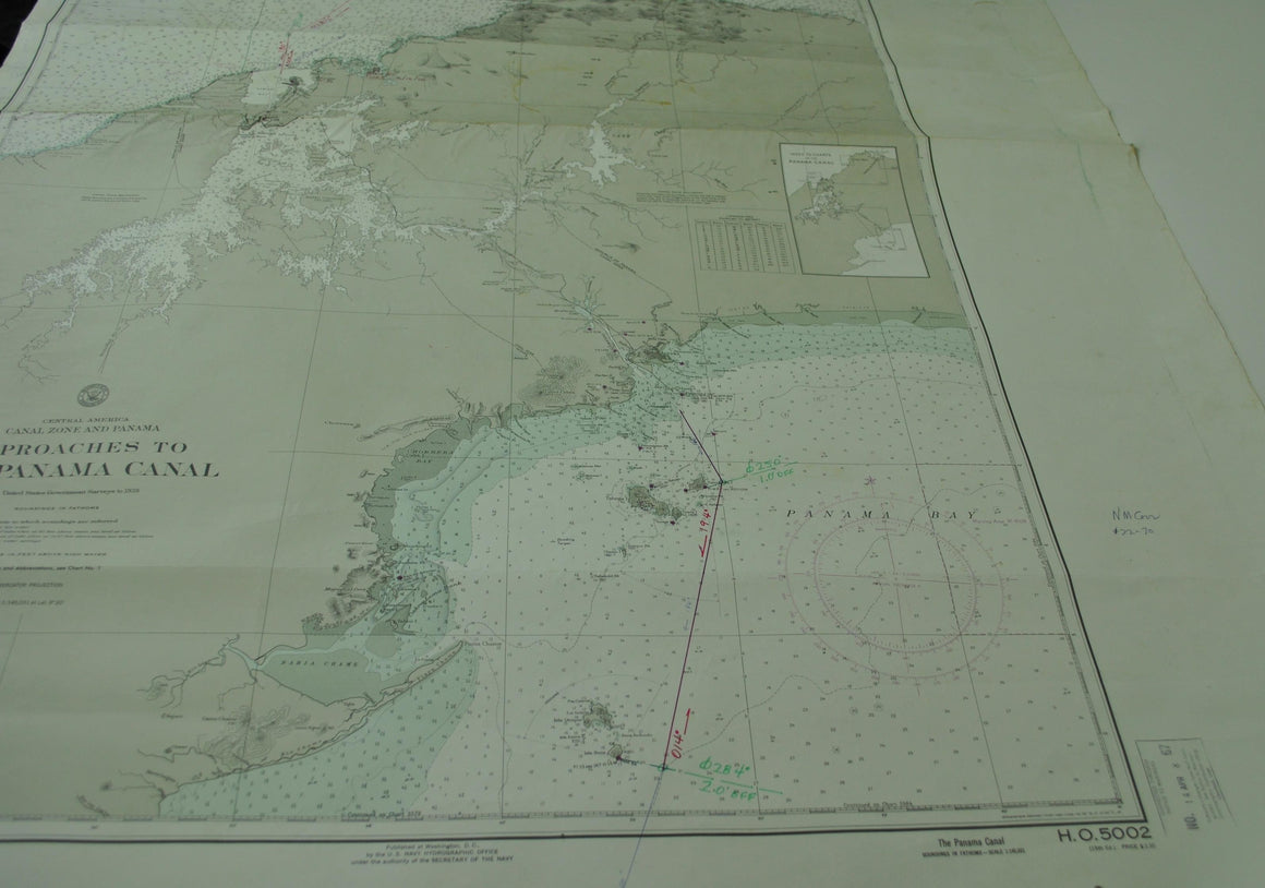 Panama Canal Nautical Chart Vintage Map 1965