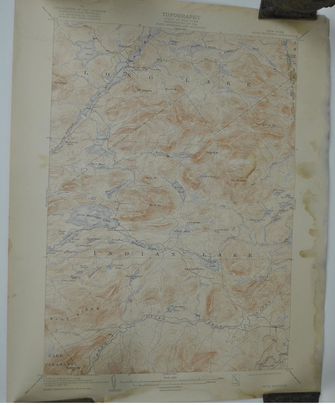 Blue Mountain New York Antique Topographic Map 1919