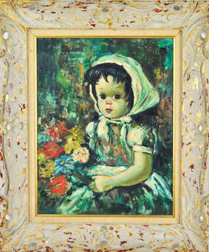 Bollini Little Girl with Flowers Canvas Oil Painting c.1950 Framed 21x25in