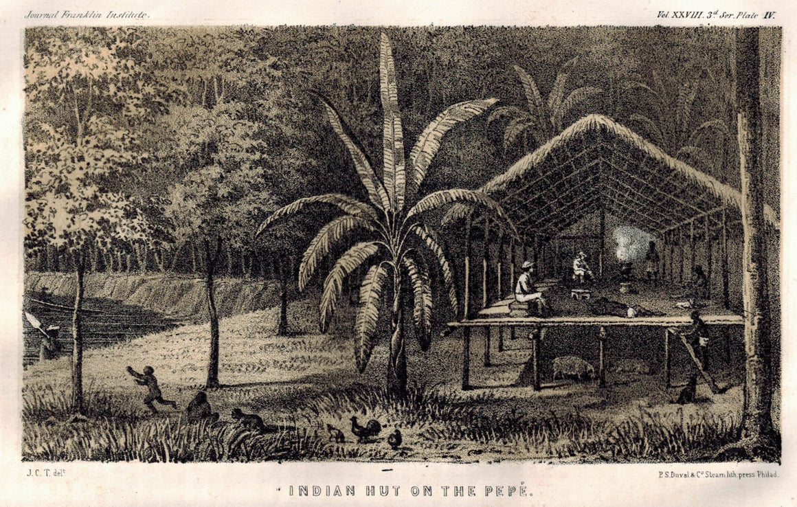 Indian Hut On The Pepe Columbia 1854 Original Antique Litho Print