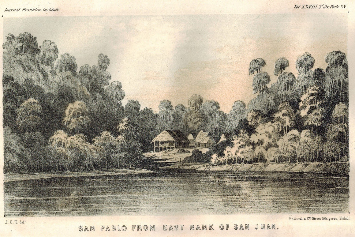 San Pablo From East Bank Of San Juan Columbia 1854 Original Antique Litho Print