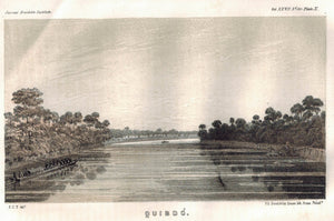 Quibdó (Quibdo) View on Atrato River Columbia 1854 Antique Litho Print