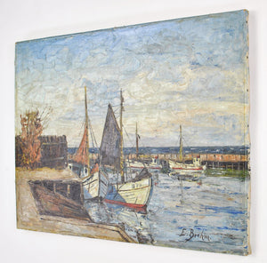Harbor Scene Fishing Boats Oil Painting by E. Brehm 19th Century German Artist