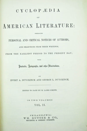 The Cyclopedia of American Literature by George Duyckinck 1875