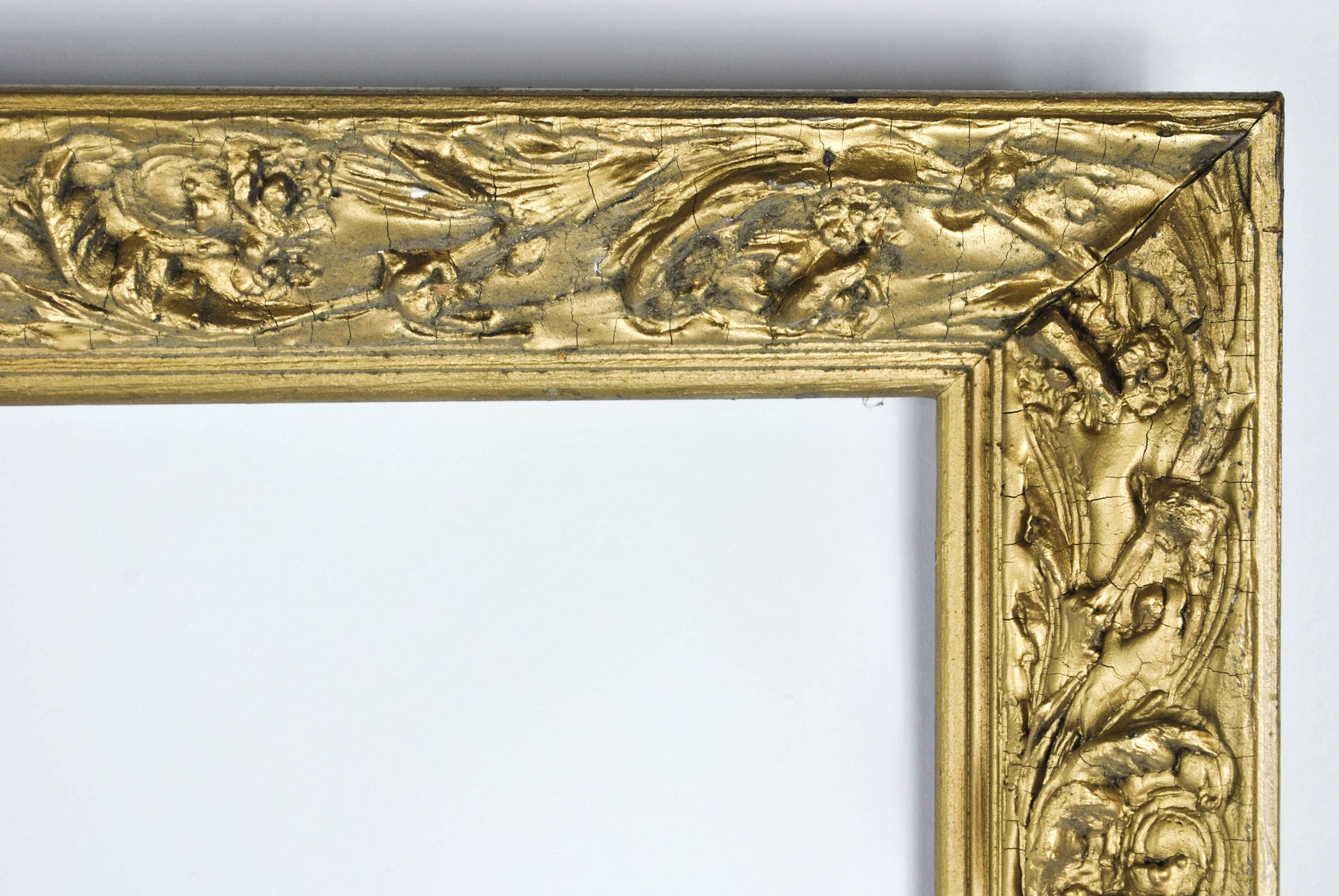 Antique carved wood gold gilt european style frame with baroque antique carved wood gold gilt european style frame with baroque accents 28x44 jeuxipadfo Image collections