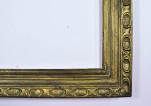 Vintage Modernist Mid Century Carved Wood Dark Green Gray Frame 29x35in