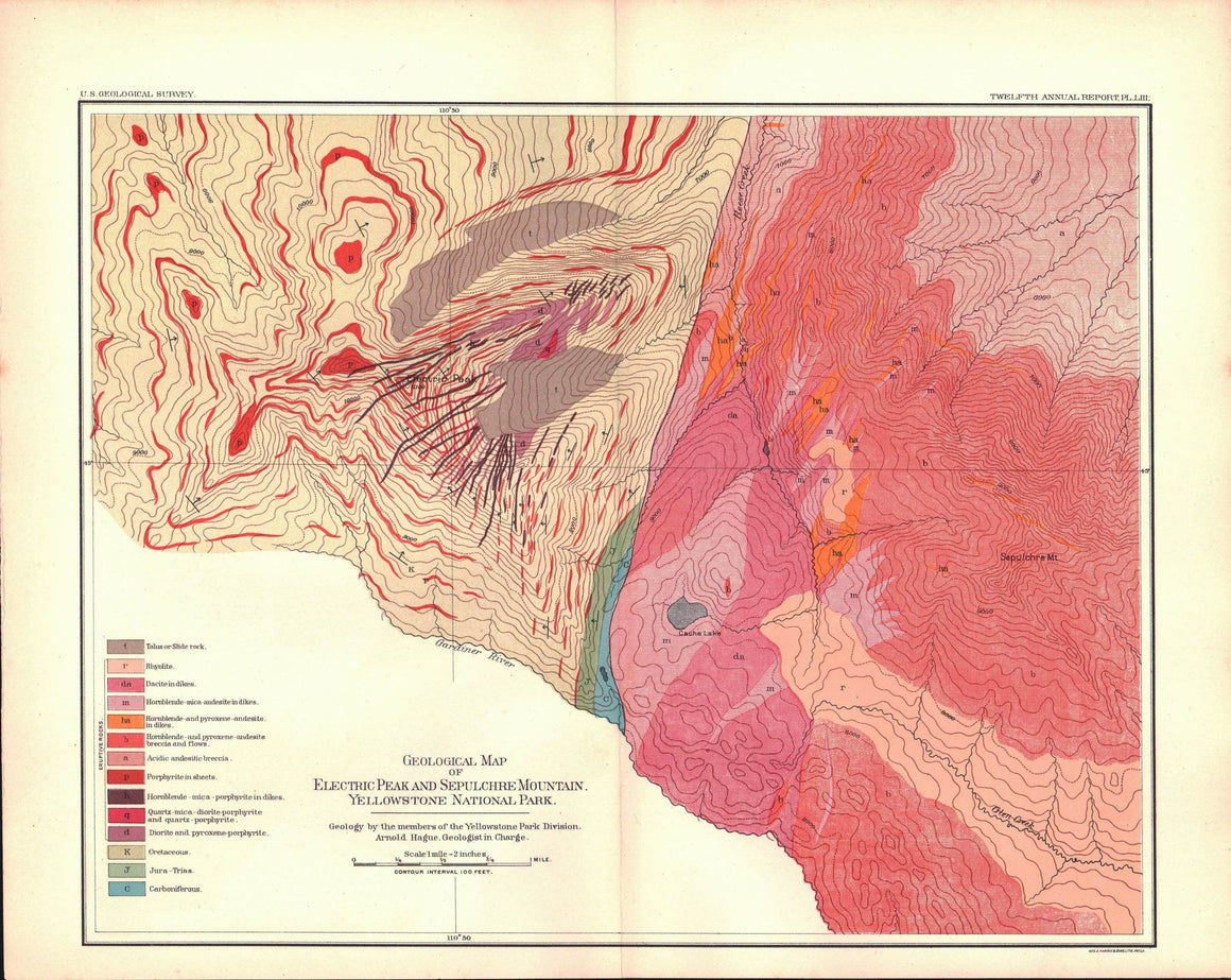 1891 Geological Map of Electric Peak and Sepulchre Mountain, Yellowstone National Park - J W Powell