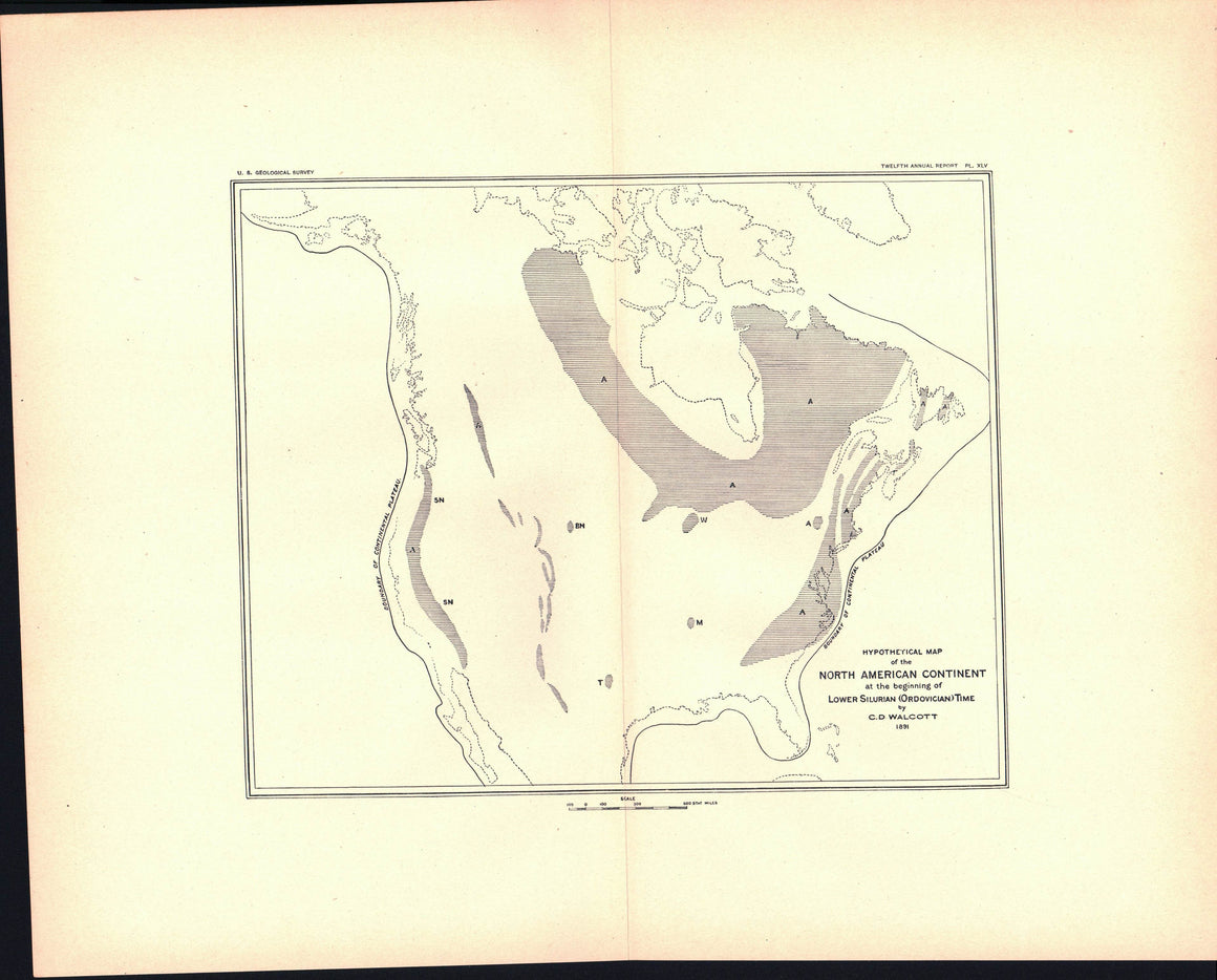 1891 North American Continent beginning of Lower Silurian (Ordovician) Time - J W Powell