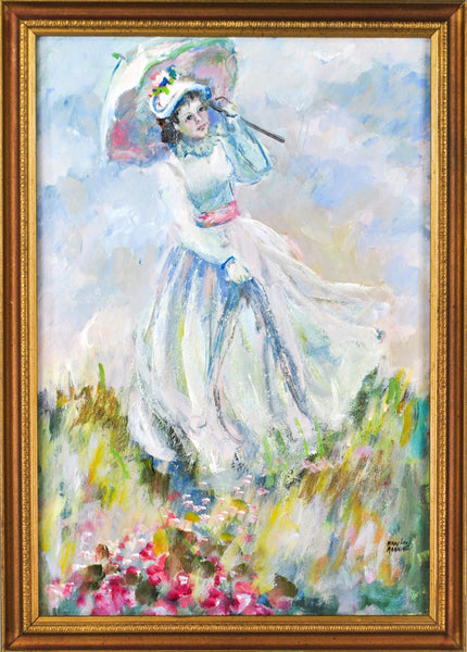 Mary Lou Manning Victorian Girl with Umbrella going over the meadow Oil on Board