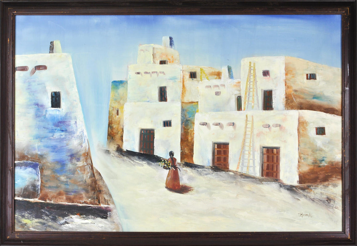 Pueblo Scene Southwest Mexico Adobe Village Landscape Oil Painting Signed