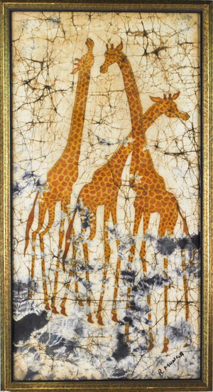 Vintage Batik Painting Three Happy Giraffes Picking Leaves from Trees Signed