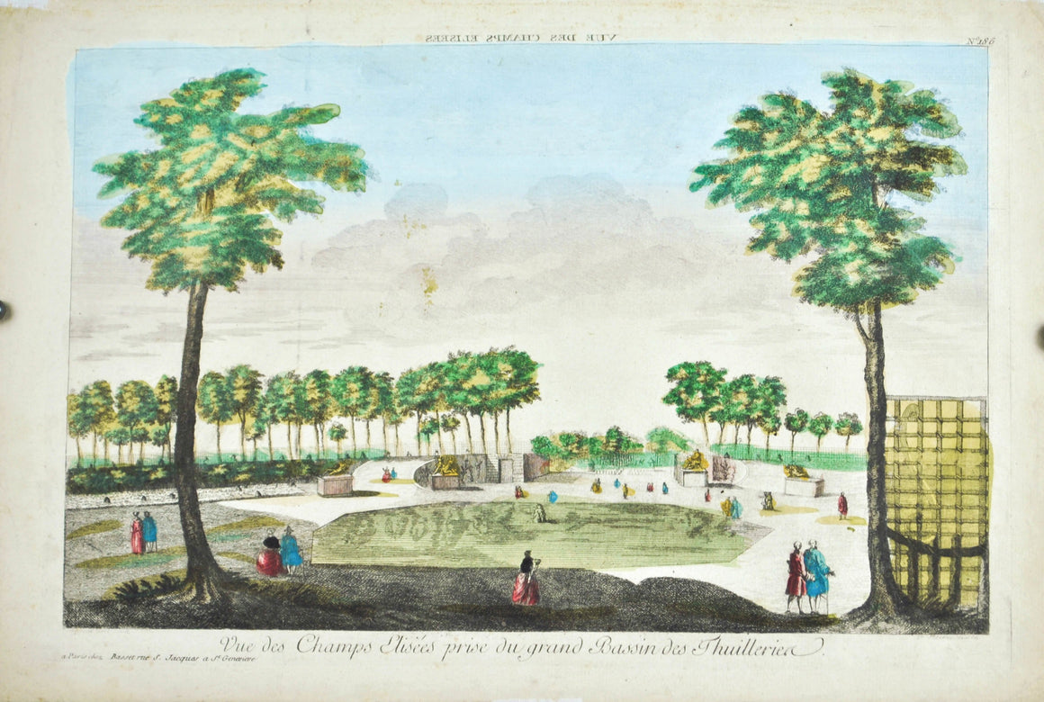 Paul Andre Basset 18th c. View Champs Elisees Tuileries Garden Paris Landscape