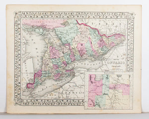 1881 Map of Ontario in Counties - S Mitchell Jr