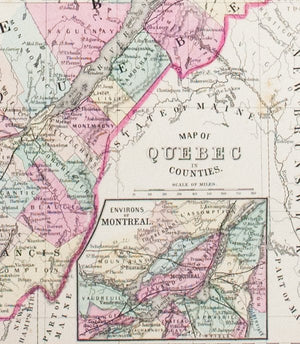 1881 Map of Quebec in Counties - S Mitchell Jr