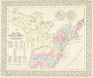 1881 Map of the Original Thirteen Colonies - S Mitchell Jr