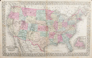 1881 Map of the United States and Territories - S Mitchell Jr