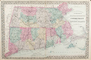 1881 Map of the States of Massachusetts, Connecticut and Rhode Island - S Mitchell Jr